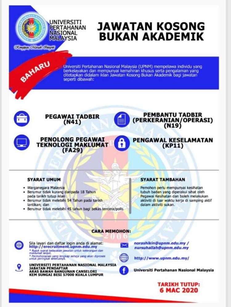 Info Jawatan Kosong Terkini Universiti Pertahanan Malaysia Kuala Lumpur Jawatan Kosong Terkini