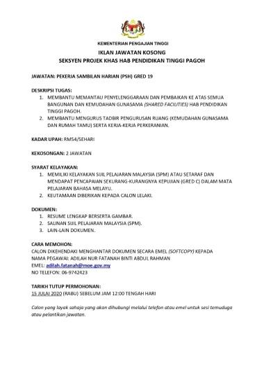 Info Jawatan Kerajaan Kementerian Pengajian Tinggi Jawatan Kosong Terkini